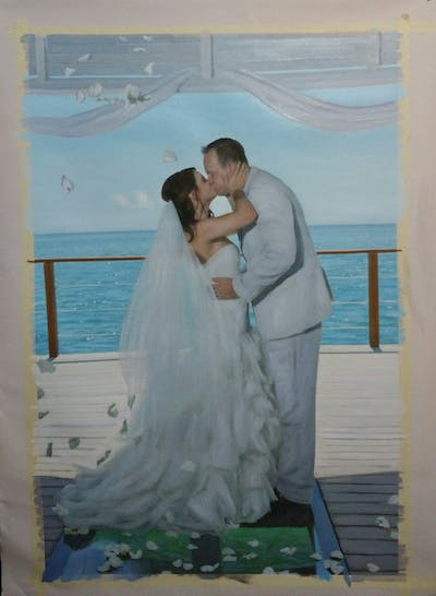 A painting of gown, wedding dress, bride, photograph, bridal clothing, wedding, dress, veil, fashion accessory, shoulder