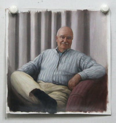 A painting of senior citizen, sitting, professional, furniture, profession