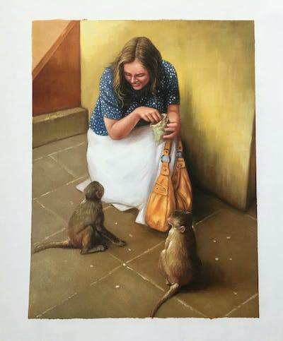A painting of mammal, fauna, primate, human behavior, old world monkey, temple