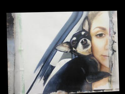 A painting of dog, dog breed, dog like mammal, nose, photo caption, puppy, snout, puppy love, selfie, font