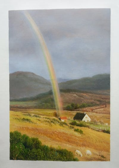 A painting of rainbow, sky, field, highland, grassland, meteorological phenomenon, hill, rural area, cloud, phenomenon
