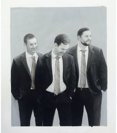 A painting of man, photograph, suit, black and white, groom, male, photography, standing, wedding, groom