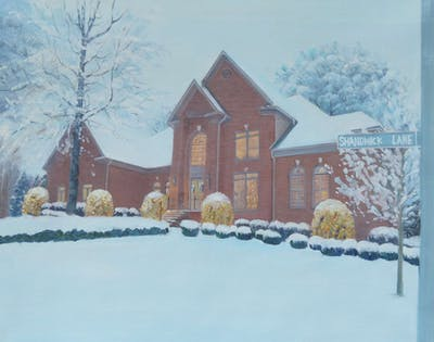 A painting of snow, winter, home, house, property, sky, architecture, residential area, tree, building