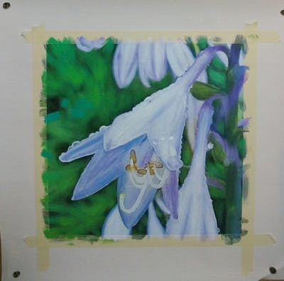A painting of flower, plant, flora, purple, bellflower family, harebell, petal, bellflower, flowering plant, herbaceous plant