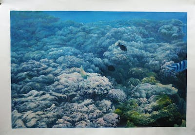 A painting of coral reef, reef, underwater, coral, marine biology, sea, water, organism, ocean, coastal and oceanic landforms