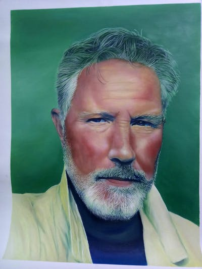 A painting of facial hair, hair, beard, face, man, person, chin, eyebrow, forehead, nose