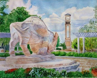 A painting of historic site, monument, tourist attraction, archaeological site, statue, memorial, tourism, estate, hacienda, sculpture