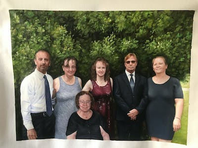 A painting of people, social group, family, tree, formal wear, ceremony, socialite, fun, event, smile