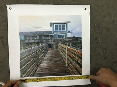 A painting of property, walkway, boardwalk, house, wood, real estate, cottage, home, outdoor structure, siding