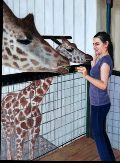 A painting of giraffe, giraffidae, mammal, zoo, girl, wildlife, neck
