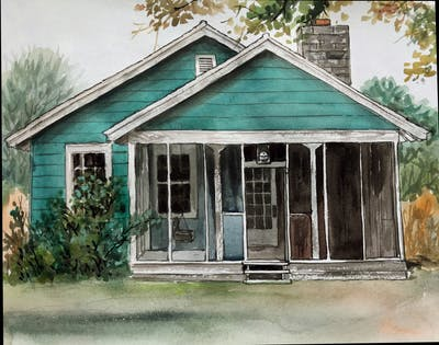 A painting of house, property, home, cottage, shack, real estate, shed, log cabin, hut, farmhouse