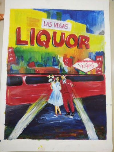 A painting of car, vehicle, transport, luxury vehicle, limousine, advertising, street, public transport, compact car