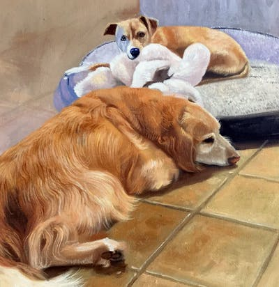 A painting of dog, dog like mammal, dog breed group, dog breed, golden retriever, retriever, snout, carnivoran, sporting group, dog crossbreeds