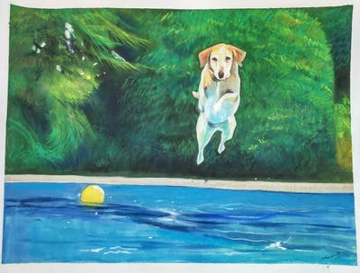A painting of leisure, water, swimming pool, fun, sport venue, leisure centre, recreation, water park, vacation, sports equipment