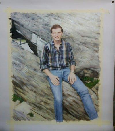 A painting of jeans, denim, plaid, male, outerwear, pattern, trousers, tartan, photo shoot, rock