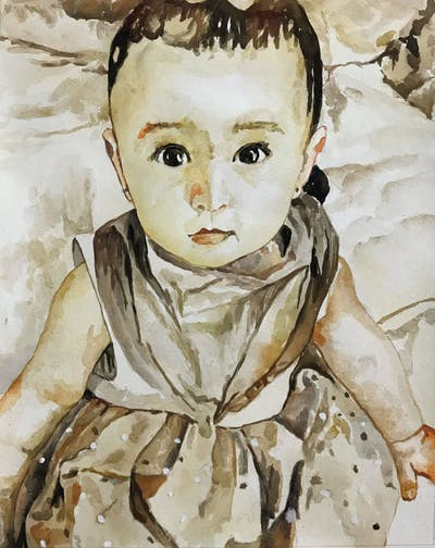 A painting of child, skin, head, infant, toddler, cheek, textile, child model, girl, product
