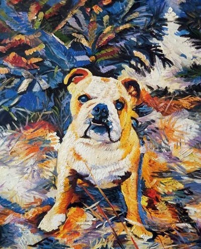 A painting of dog, dog breed, dog like mammal, old english bulldog, olde english bulldogge, bulldog, toy bulldog, british bulldogs, australian bulldog, snout