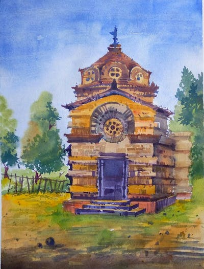 A painting of chapel, historic site, building, place of worship, mausoleum, medieval architecture, facade, bell tower
