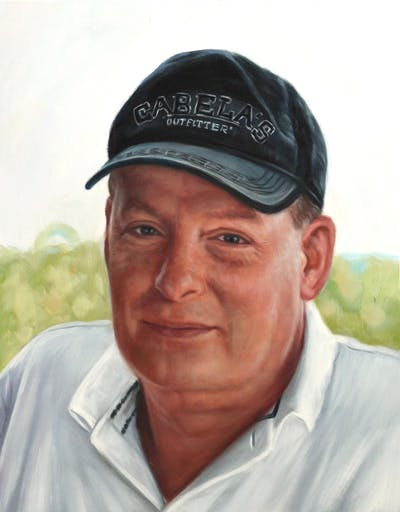 A painting of cap, headgear, forehead, senior citizen, elder, hat, smile