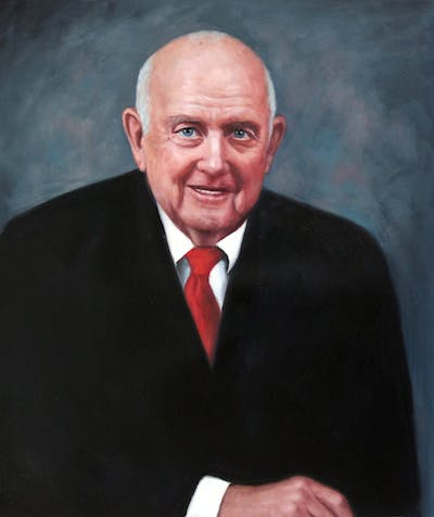 A painting of official, elder, gentleman, professional, portrait, senior citizen, smile, business executive, executive officer, diplomat