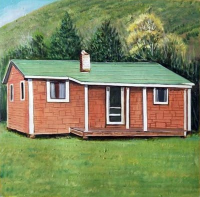 A painting of house, home, property, shack, shed, log cabin, cottage, hut, farmhouse, siding