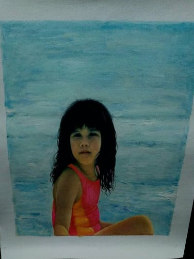 A painting of body of water, vacation, water, fun, girl, beauty, sea, beach, leisure, summer