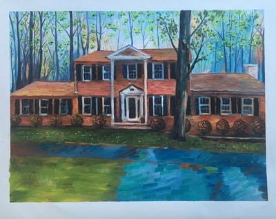 A painting of home, house, property, siding, real estate, residential area, estate, farmhouse, window, neighbourhood