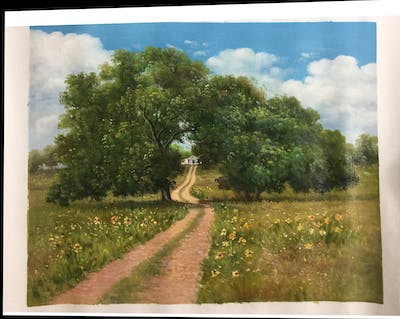 A painting of tree, ecosystem, nature reserve, sky, woody plant, grassland, vegetation, path, field, pasture