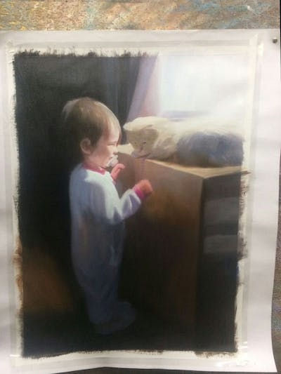 A painting of toddler, child, product, fun, space, girl