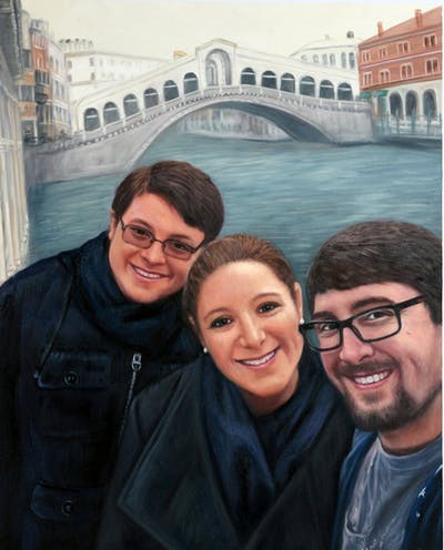 A painting of people, day, glasses, fun, photography, selfie, smile, product, cool, vision care