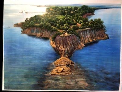 A painting of promontory, coastal and oceanic landforms, coast, headland, islet, sky, sea, island, bay, cape