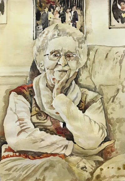 A painting of senior citizen, sitting, person, glasses, grandparent, smile, vision care, elder, fun, christmas