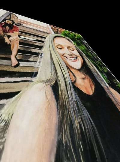 A painting of hair, human hair color, hairstyle, blond, long hair, smile, girl, socialite, brown hair, hair coloring