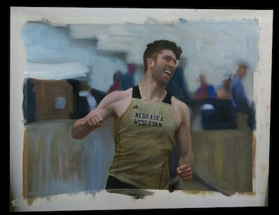 A painting of athletics, sports, physical fitness, muscle, arm, athlete, physical exercise, competition, recreation, race