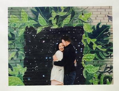 A painting of green, tree, plant, wall, art, street art, graffiti, mural, recreation, grass