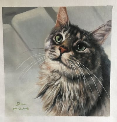 A painting of cat, whiskers, small to medium sized cats, cat like mammal, eye, domestic short haired cat, fur, maine coon, snout, kitten