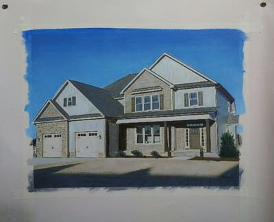A painting of home, property, house, estate, real estate, residential area, building, facade, elevation, cottage