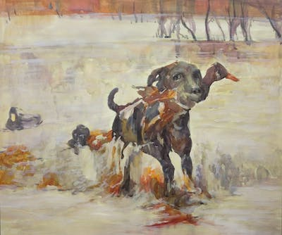 A painting of dog, dog like mammal, water bird, water, duck, ducks geese and swans, sporting group