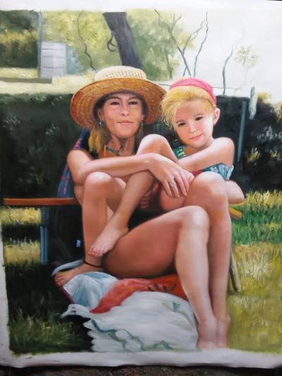 A painting of vacation, sun tanning