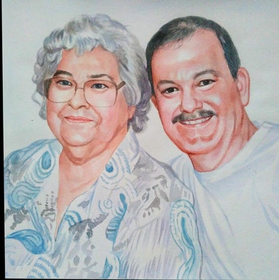 A painting of senior citizen, grandparent, professional, family, fun, smile, friendship, elder, iris