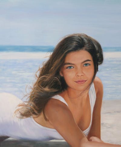 A painting of human hair color, beauty, model, photo shoot, girl, long hair, black hair, brown hair, swimwear, supermodel