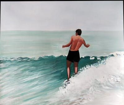 A painting of water, surfing equipment and supplies, wave, boardsport, surfboard, surfing, sky, fun, sea, recreation