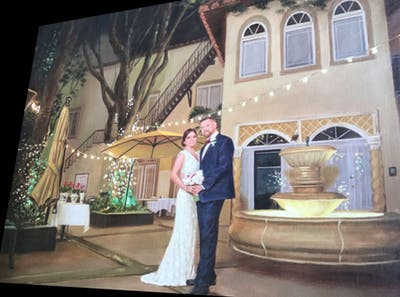 A painting of ceremony, event, lighting, night, tradition, wedding reception, evening, wedding, fun, function hall