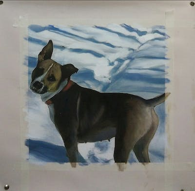 A painting of dog, dog like mammal, snow, dog breed, winter, snout, dog breed group, carnivoran, dog crossbreeds, hound