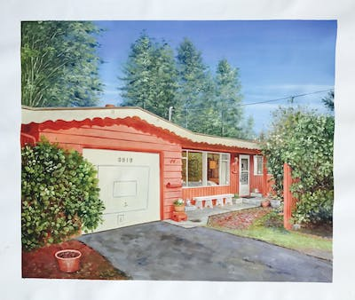 A painting of property, home, real estate, house, cottage, estate, facade, shed, landscape