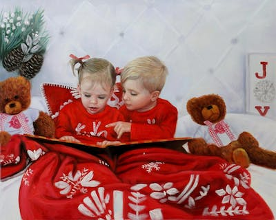 A painting of red, toddler, christmas, teddy bear, smile, product, child, fun, valentine's day, love