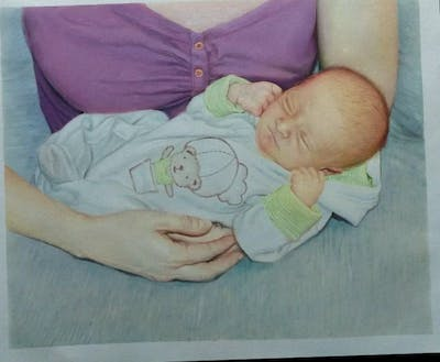A painting of infant, child, product, hand, toddler, finger, sleep