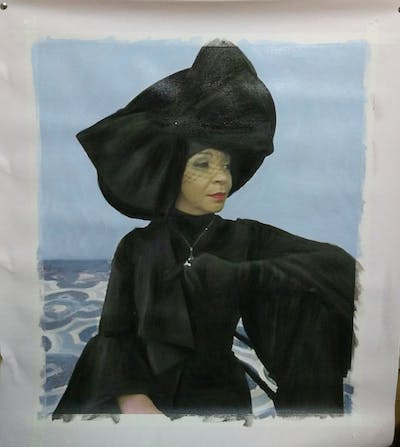 A painting of headgear, outerwear, fashion, academic dress, mortarboard, girl, hat