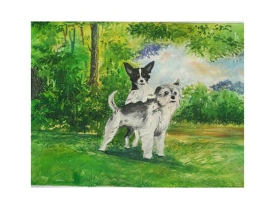 A painting of dog, dog breed, dog breed group, dog like mammal, snout, companion dog, dog crossbreeds, vulnerable native breeds
