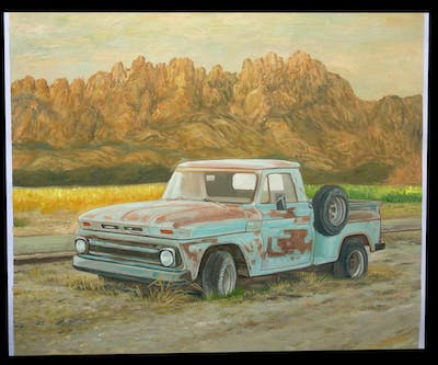 A painting of motor vehicle, car, vehicle, truck, pickup truck, automotive design, automotive exterior, bumper